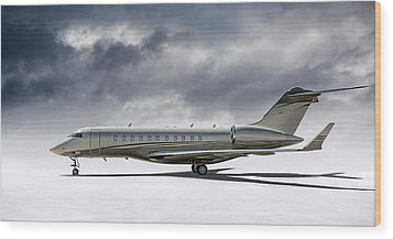 Wood Print featuring the digital art Bombardier Global 5000 by Douglas Pittman