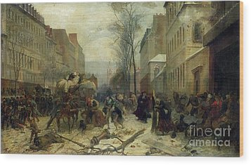 Bombardment Of Paris In 1871 Wood Print by Felix Philippoteaux