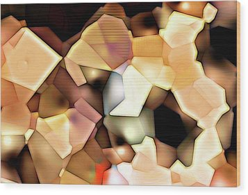 Bonded Shapes Wood Print by Ron Bissett