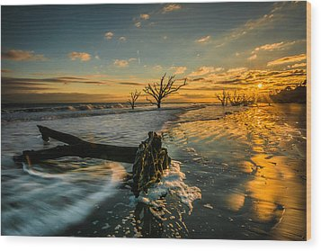 Boneyard Sunset Wood Print