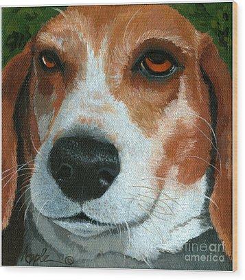 Bonnie - Beagle Painting Wood Print by Linda Apple