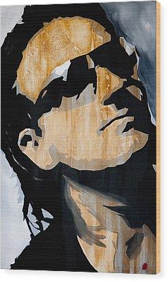 Bono Wood Print by Brad Jensen
