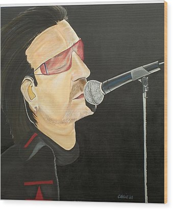 Bono Wood Print by Colin O neill