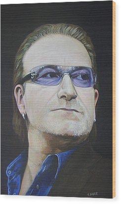 Bono Wood Print by Eamon Doyle