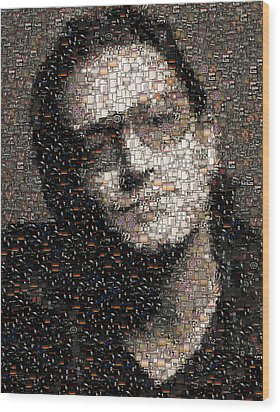 Wood Print featuring the mixed media Bono U2 Albums Mosaic by Paul Van Scott