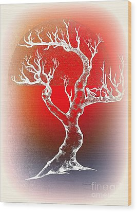 Bonsai Red Wood Print by Greg Moores