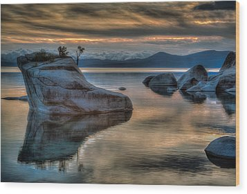 Bonsai Rock At Sunset Wood Print