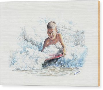 Boogie Boarding Wood Print