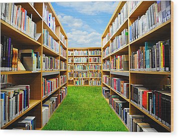 Book Garden Wood Print by Roman Rodionov