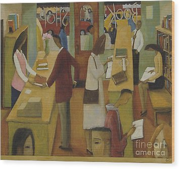 Wood Print featuring the painting Book Shop by Glenn Quist