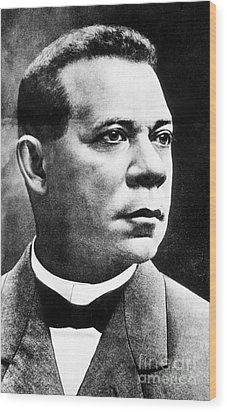 Booker T. Washington, African-american Wood Print by Photo Researchers
