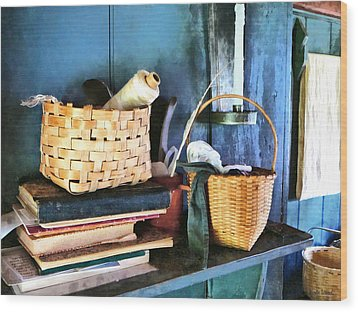 Books And Baskets Wood Print by Susan Savad