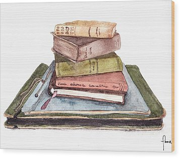 Books Wood Print