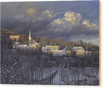 Boonton In Winter Wood Print by David Henderson