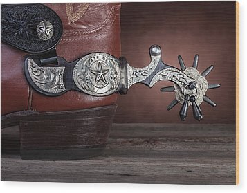 Boot Heel With Texas Spur Wood Print by Tom Mc Nemar