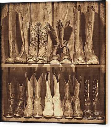Boot Rack Wood Print by American West Legend By Olivier Le Queinec