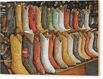 Boots In Every Color Wood Print