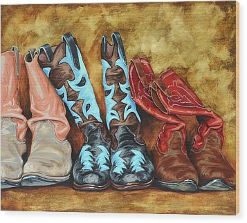 Boots Wood Print by Lesley Alexander