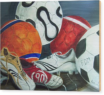 Boots N Balls Wood Print by Pete Maier