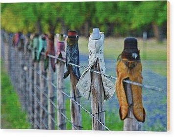 Wood Print featuring the photograph Boots On The Fence by Linda Unger