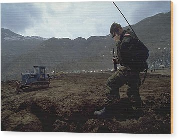 Boots On The Ground Wood Print