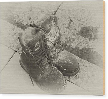 Boots Reno Wood Print by Ann Tracy