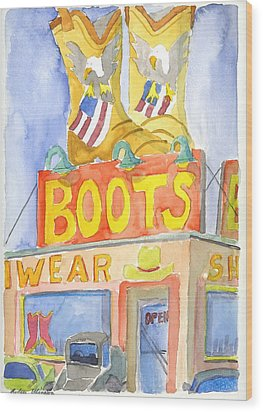 Boots Wood Print by Rodger Ellingson