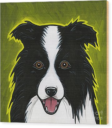 Border Collie Wood Print by Leanne Wilkes