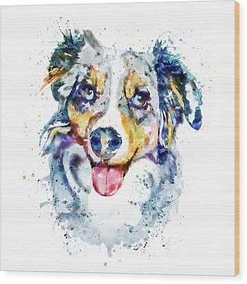 Wood Print featuring the mixed media Border Collie  by Marian Voicu