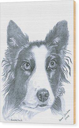 Border Collie Wood Print by Yvonne Johnstone