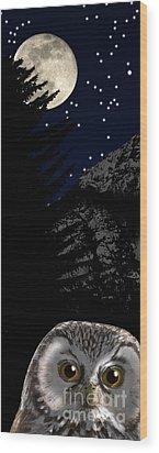 Wood Print featuring the painting Boreal Owl Or Tengmalm's Owl - Aegolius Funereus - Nationalpark Gesaeuse Xeis by Urft Valley Art