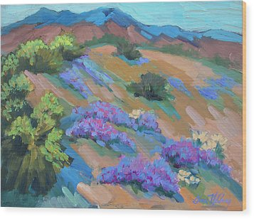 Wood Print featuring the painting Borrego Springs Verbena by Diane McClary