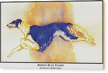 Borzoi Blue Flight Wood Print by Kathleen Sepulveda
