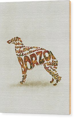 Wood Print featuring the painting Borzoi Dog Watercolor Painting / Typographic Art by Inspirowl Design