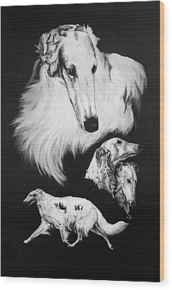 Wood Print featuring the drawing Borzoi by Rachel Hames