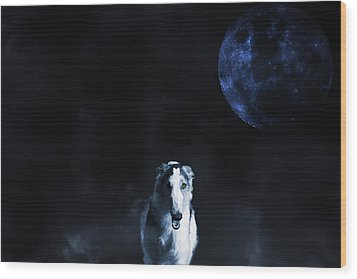 Wood Print featuring the photograph Borzoi Wolf-hound, Hunting Under A Full Moon by Christian Lagereek