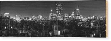 Boston After Dark Wood Print by Andrew Kubica