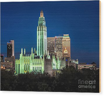 Boston Avenue Methodist Church At Twilight Wood Print