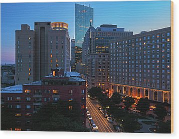 Wood Print featuring the photograph Boston Back Bay Park Plaza Hotel  by Juergen Roth
