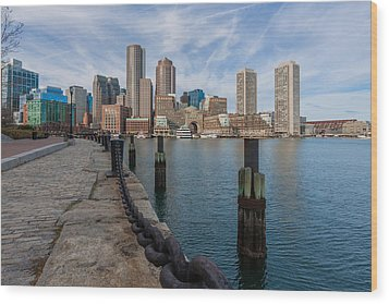 Boston Cityscape From The Seaport District 3 Wood Print by Brian MacLean