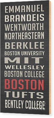 Boston Collegetown Wood Print by Edward Fielding