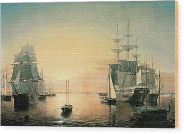 Boston Harbor Wood Print by Fitz Hugh Lane