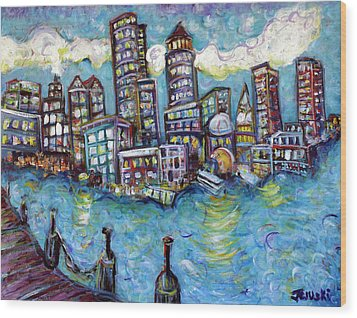 Boston Harbor Wood Print by Jason Gluskin