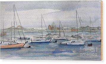 Boston Harbor  Wood Print by Julie Lueders