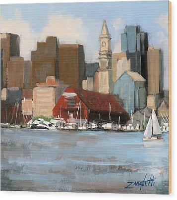 Boston Harbor Wood Print by Laura Lee Zanghetti