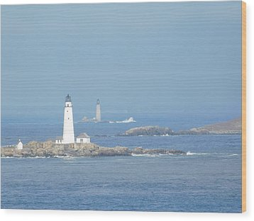 Boston Harbor Lighthouses Wood Print by Catherine Gagne