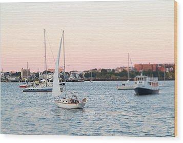 Boston Harbor View Wood Print