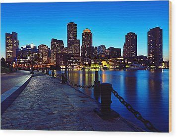 Boston Harbor Walk Wood Print