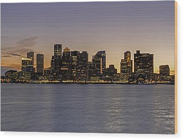 Boston Last Night Sunset Wood Print by Juergen Roth