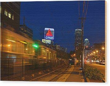 Boston Ma Green Line Train On The Move Wood Print